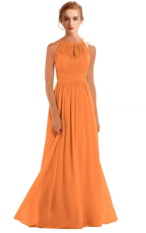 orange VaniaDress Women Halter Sleeveless Long Evening Dress Formal Gowns V266LF