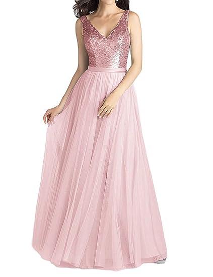 Lanierwedding Long A Line V Neck Chiffon Sequined Bridesmaid Dresses Black Prom Dresses For Women
