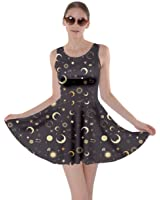 CowCow Womens Mrs Frizzle Fun Night Sky Moon Stars Space Constellations Skater Dress, XS-5XL