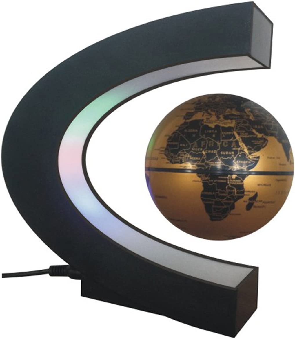Floating Globe, Arvin Magnetic Levitation Globe Rotating Globe Educational Learning Geographic Political World Map with Funny C Shape Desktop Stand and LED Light for Home School Desk Office Décor Gold
