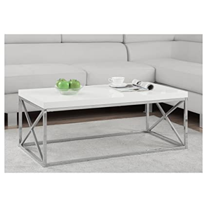 Monarch Specialties I 3028 Cocktail Table Chrome Metal Glossy White