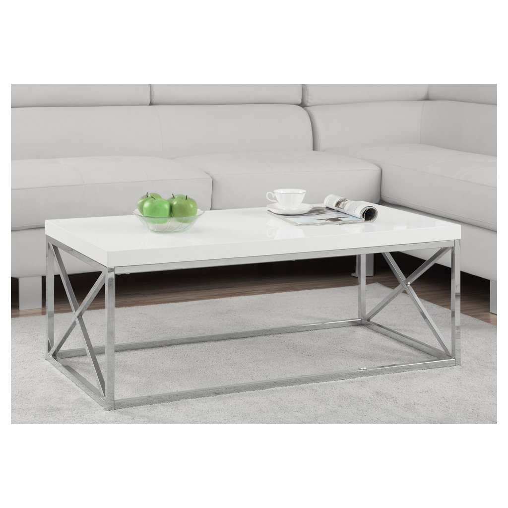 Monarch Specialties I 3028, Cocktail Table, Chrome Metal, Glossy White