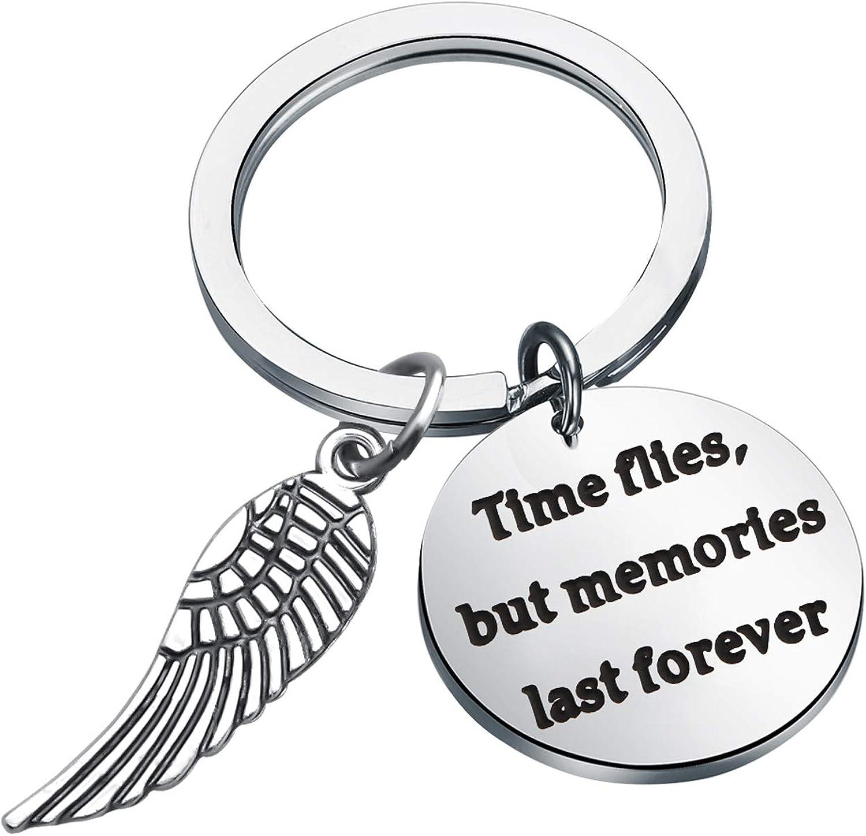 LQRI メモリアルジュエリー Time Flies But Memories Last Forever 天使の羽 メモリアルキーチェーン 愛する人への思い出のギフト