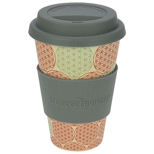 ebos Tasse en Bambou Coffee-to-go Tasse à café, Tasse à Boire | biodégradable, Recyclable, respectueuse de l'environnement | qualité Alimentaire, adaptée au Lave-Vaisselle (Fleur de Vie)