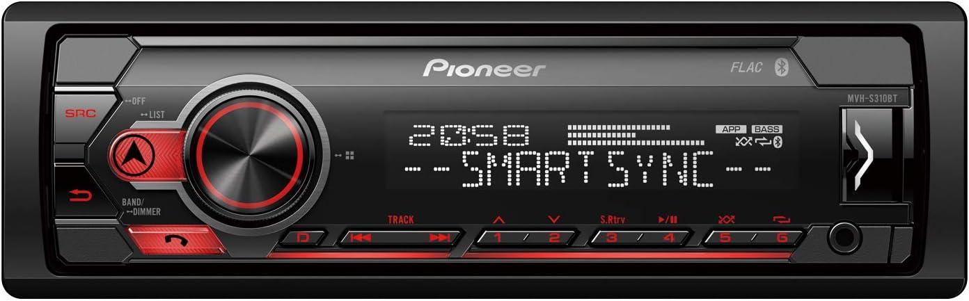 Pioneer MVH-S310BT Receptor RDS con Bluetooth, USB y Spotify, Negro, Única
