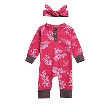 e8874a2e6 Mingfa Newborn Baby Girls Floral Print Long Sleeve Jumpsuit Romper Headband  Toddler Pajamas Clothes Outfits 3-24 Months: Amazon.co.uk: Clothing