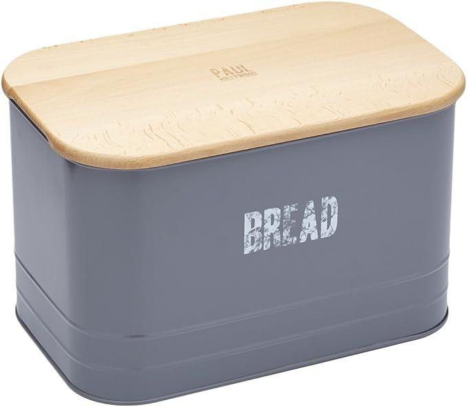 Paul Hollywood por Kitchencraft – Caja metálica para pan y pan de madera Tabla de cortar, 34,5 x 22,5 x 21,5 cm (13,5