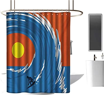Artistic Retro Surfing Poster Polyester Waterproof Fabric Shower Curtain Set 72/""