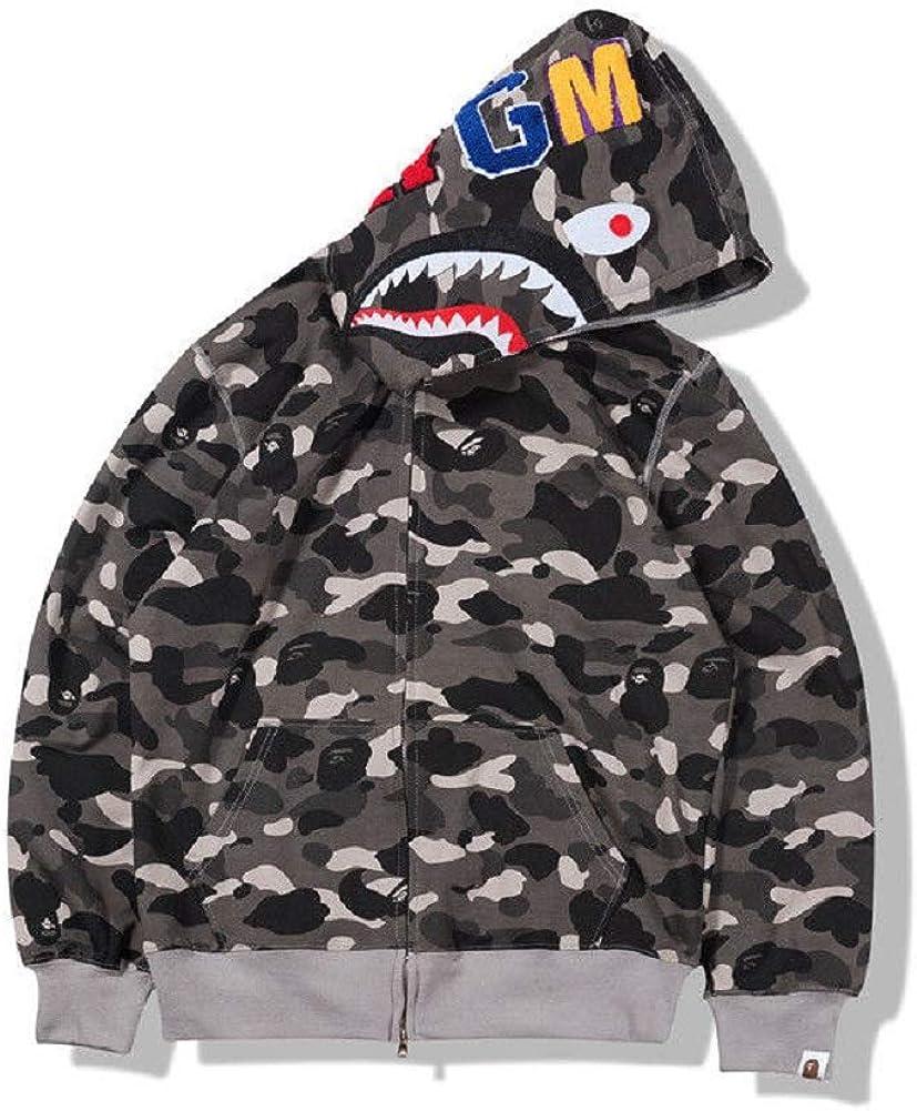 New Bathing Ape Bape Shark Jaw Camo Full Zipper Hoodie Men's Sweats Coat Jacket