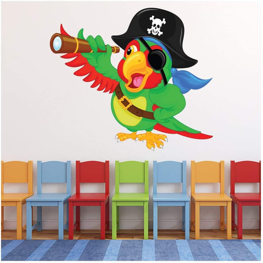 azutura Pirate Autocollant Mural Perroquet Sticker Muraux Enfants Chambre /à Coucher D/écor Disponible en 8 Tailles Tr/ès Petit Num/érique