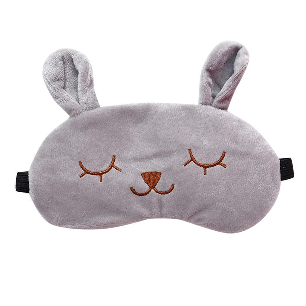 Saying Cute Cartoon Eyes-Closed Rabbit Sleep Eye Mask Padded Shade Cover Travel Relax Aid Soft Comfort Blindfold Great for Travel, Shift Work, Meditation for Women Girls (Grey)