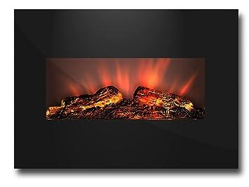 Attractive LED Elektrokamin Wandkamin Glas Kamin Glaskamin Feuer Heizung Elektro Ofen  1800W |105