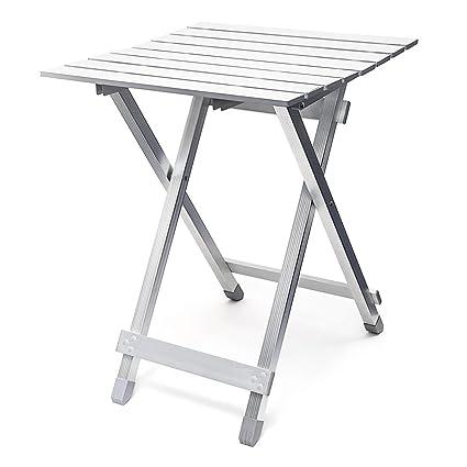 Tavolo Pieghevole In Alluminio.Relaxdays Tavolo Pieghevole In Alluminio 49 5 Cm Argento
