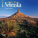 Nebraska, Wild & Scenic 2017 - 7inch x 7inch USA Hanging Mini Square Wall Photographic America State Nature Planner Calendar