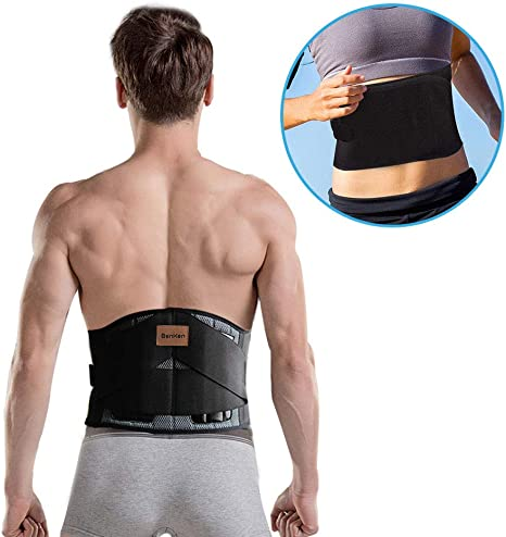 Herniated Disc and Scoliosis for Men and Women Adjustable Straps and Removable Lumbar Pad Medium FITGAME Back Brace Sciatica Lower Back Support Belt for Pain Relief