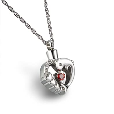 Dolphin Heart Cremation Jewelry Memorial Keepsake Pendant w// Necklace /& Funnel