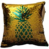 """Posh Home (Dark Green/Gold Pineapple Mermaid Sequin Reversible Decorative Throw Pillow Couch Sofa Bed 12""""x12"""", 12x12"""
