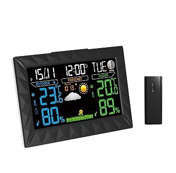 JMungS TermóMetro Higrometro Digital TS-Y01 FuncióN InaláMbrica Del Reloj Interior Al Aire Libre BaróMetro