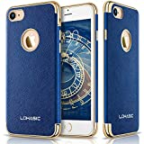 "iPhone 7 Case, LOHASIC Premium Leather Flexible Soft Bumper Cover [Slim Body] [Luxury New Textured] Non Slip Shock Absorption Protective Cases for iPhone 7 - [Ink Blue, 4.7""]"