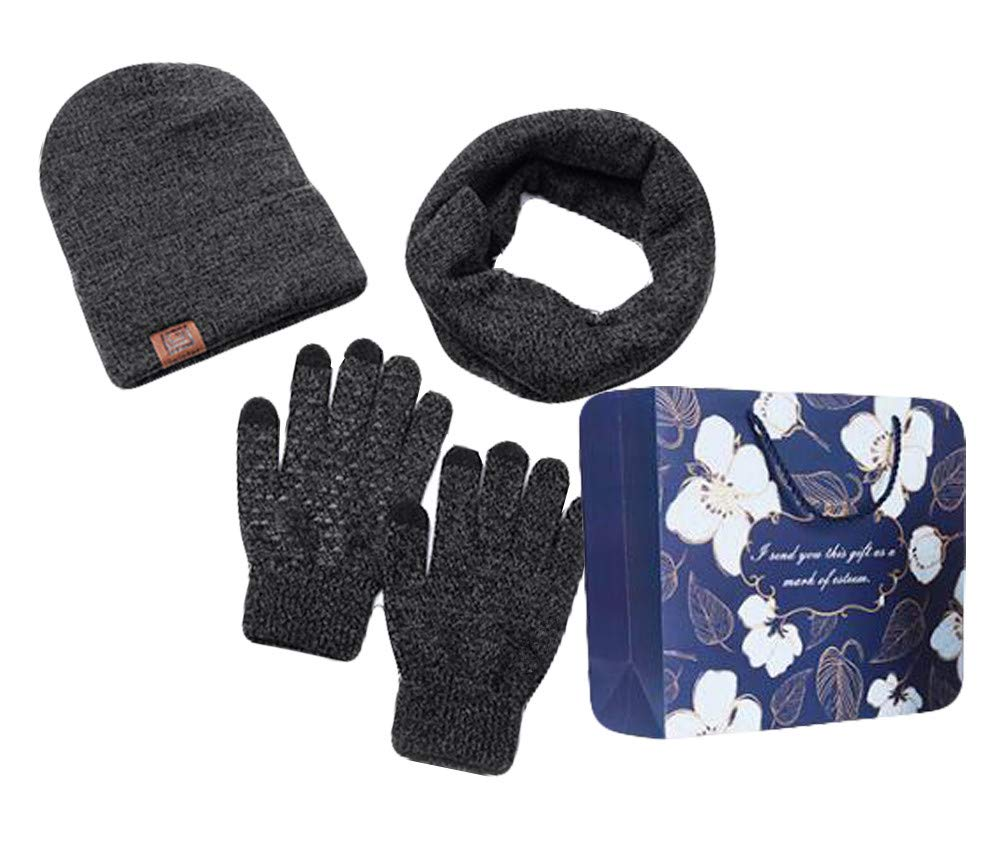 Unisex 3 PCS Winter Warm Set Knit Hat + Scarf + Touch Screen Gloves Gift Pack(Black, One Size Fits Most)