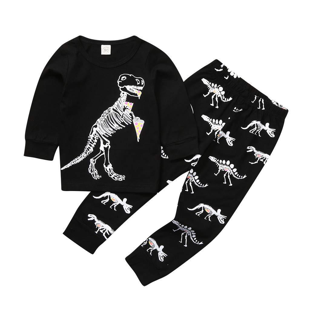 Pants 2 Piece Pjs Sleepwear Home Outfits Set Boy Kids Cartoon Dinosaur Pajamas Set Long Sleeve T Shirt Tops
