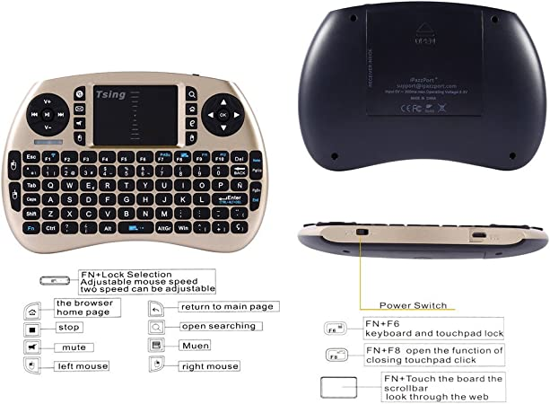 Mini Teclado Bluetooth, 2.4GHz portátil Teclado inalámbrico con con Ratón Touchpad, Compatible con Smart TV Android, PC, Xbox 360, HTPC/ IPTV, Google TV Box, PS3, Linux y Windows XP/7/8/10: Amazon.es: Electrónica