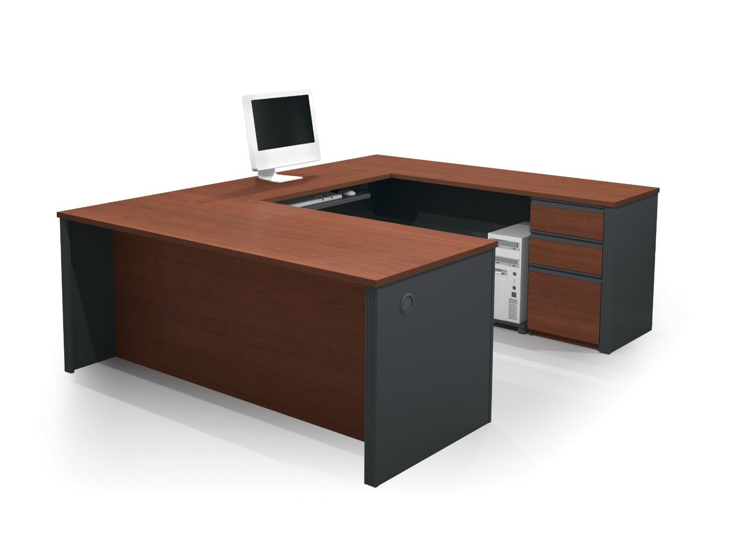Amazon.com: Contemporary U Shaped Workstation In Bordeaux And Graphite:  Kitchen U0026 Dining