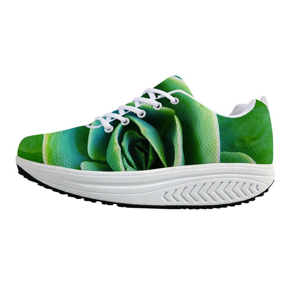 FOR U DESIGNS Leisure Womens Swing Wedges Leisure Mesh Green Fleshy Fitness Jogging Sneakers US 10