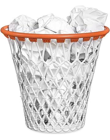 Balvi - Basket Papelera. con diseño Divertido de Canasta de Baloncesto. Color Blanco.