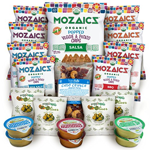 Best Sellers Snacks Premium Care Package - Great Gift or Sampler, Healthy Variety Pack Single Servings - Mozaics Chips, Veggicopia Dips & Olives, Cabo Crunch Nut Mix (20 (Healthy Gift)