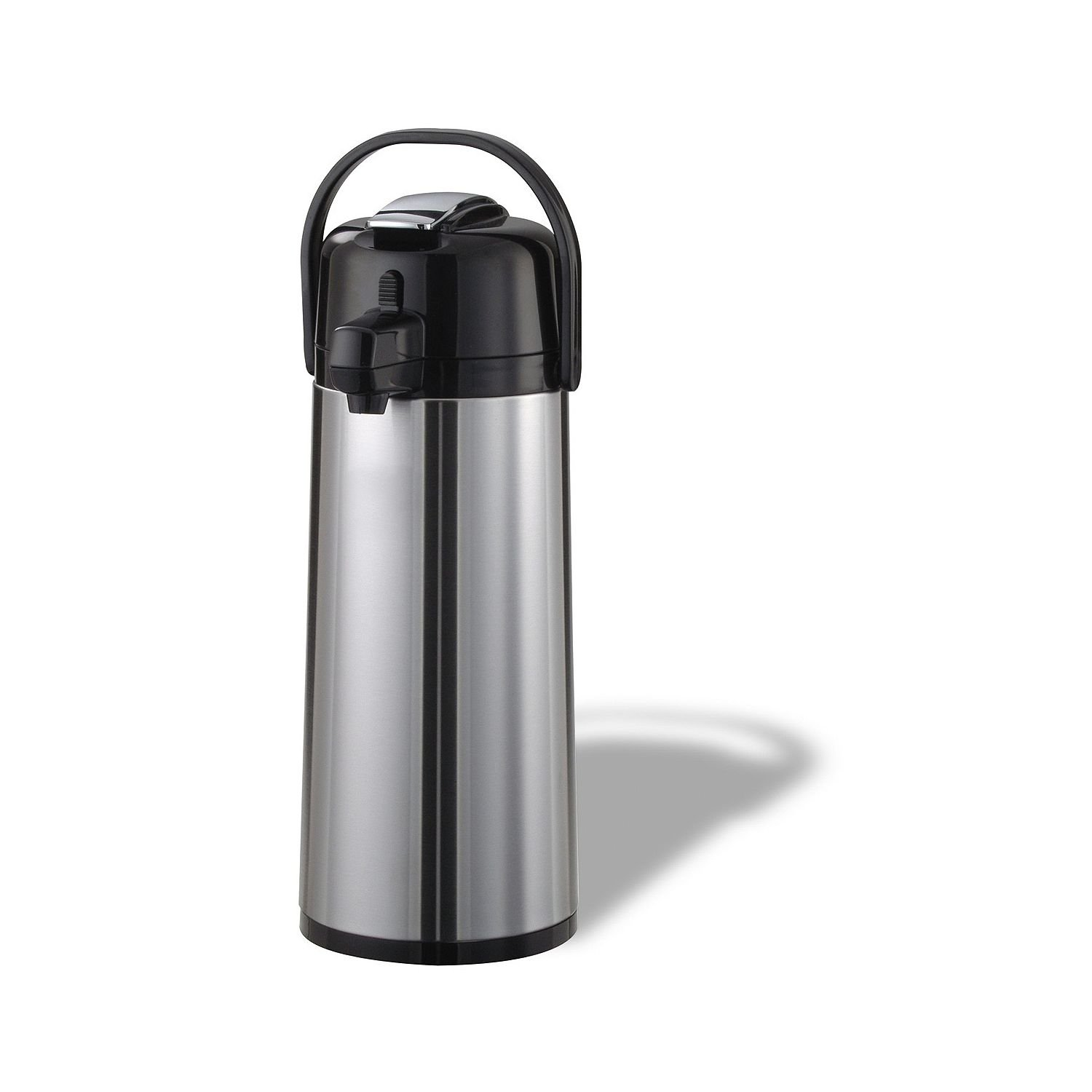 Service Ideas ECAL19S Eco-Air Lever Lid Airpot, Glass Vacuum, 1.9 Liter (64.2 oz.), Brushed Stainless/Black si-ecal19s