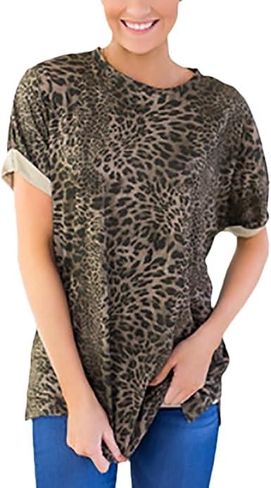 Camisetas Mujer Manga Corta Verano Elegantes Chic Camiseta Cuello Redondo Vintage Hippies Moda Casual Leopardo Print T-Shirt Tops Blusas: Amazon.es: Ropa y accesorios