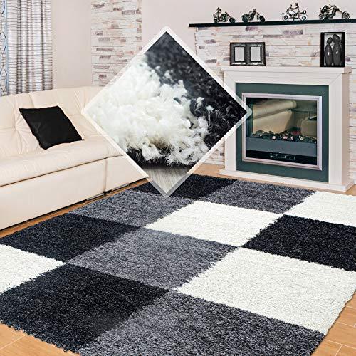 Carpet 1001 Hochflor Langflor Wohnzimmer Shaggy Teppich kariert Schwarz Weiss Grau - 200x290 cm