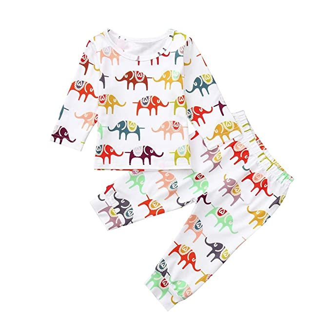 bb5ff5224 Xmiral Cute Kids Baby Girls Boys Elephant Print Boys Girls Outfits ...