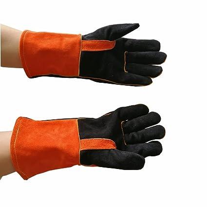 Guantes de soldadura largos, guantes para barbacoa de alta temperatura, guantes de trabajo resistentes