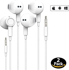 [Apple MFi Certified] Apple Earbuds with 3.5mm Headphone Plug(Built-in Microphone & Volume Control) in-Ear Headphone Headset Compatible with iPhone,iPad,Samsung,Compter,MP3/4,Android Phone etc-2 Pack