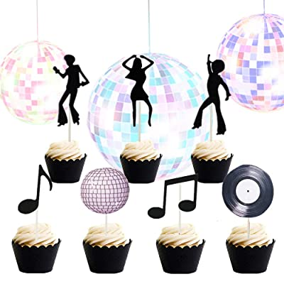 Set of 35 LaVenty 70's Disco Cupcake Topper 70's Disco Cake Decoration Disco Cupcake Toppers Saturday Night Fever Party Decorations Disco Ball Dance Birthday Party Supplies: Toys & Games