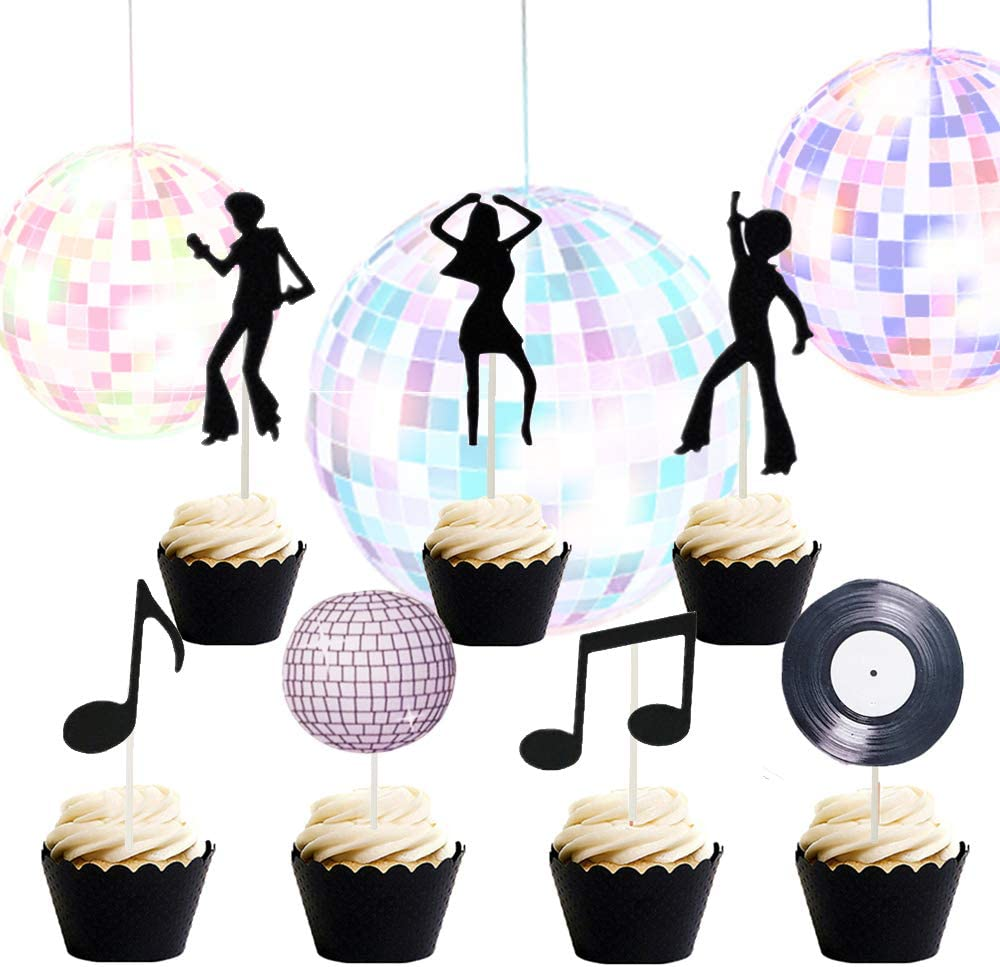 Set of 35 LaVenty 70's Disco Cupcake Topper 70's Disco Cake Decoration Disco Cupcake Toppers Saturday Night Fever Party Decorations Disco Ball Dance Birthday Party Supplies