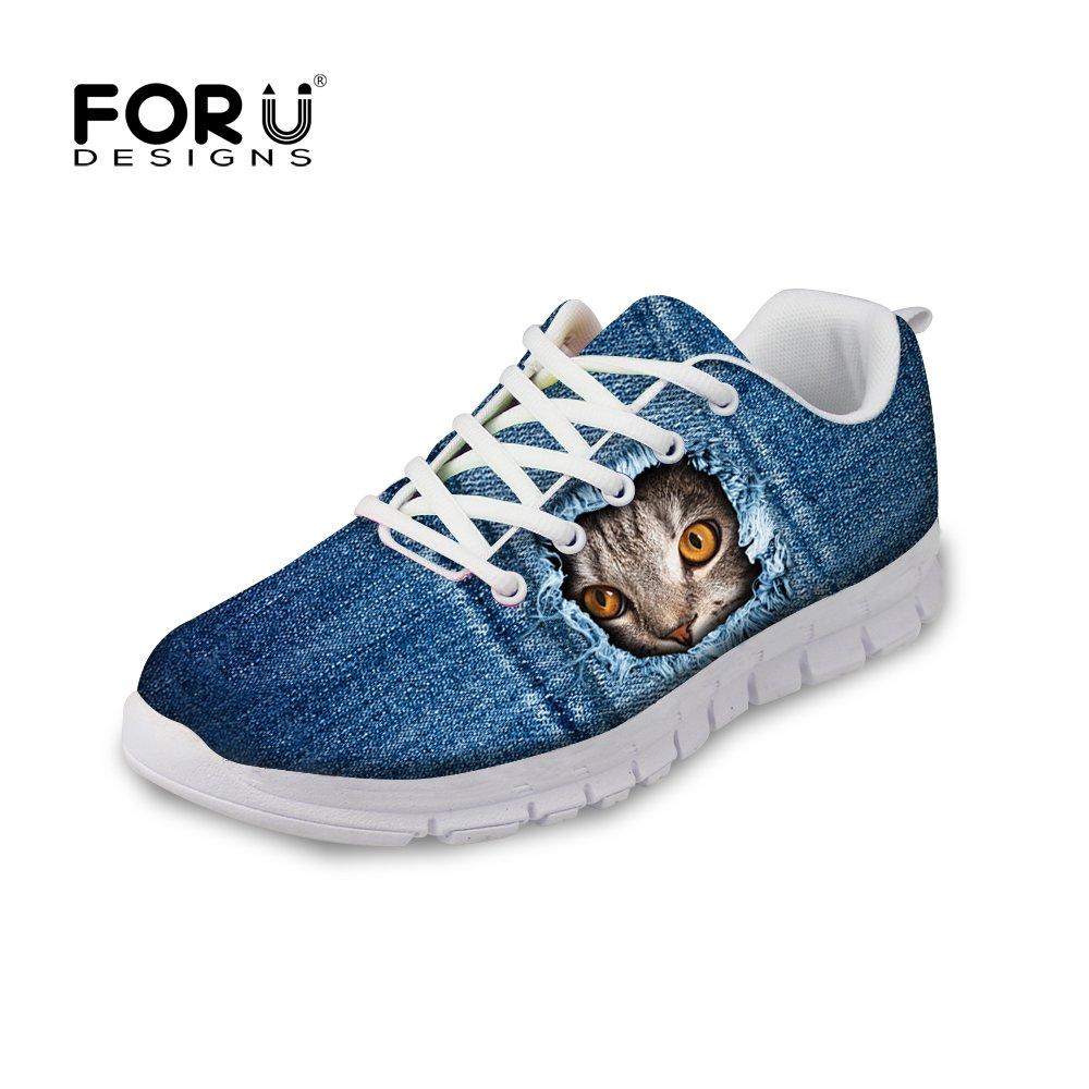 e0a667c85c48c FOR U DESIGNS Fashion Cat Print Men's & Women's Breathable Mesh Running  Shoes Sneaker