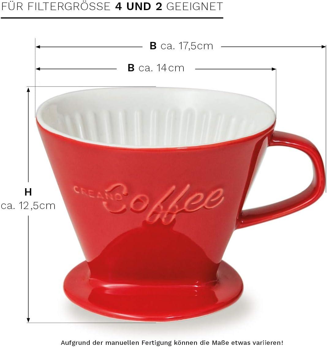 Tama/ño de Filtro 4   Disponible en 6 Colores Filtro de Caf/é de Porcelana Rojo