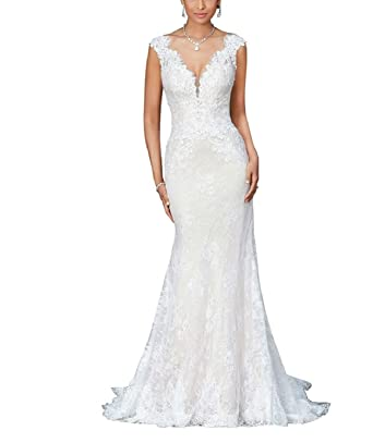 6f517dbbf220 Sophie Kate Womens V-Neck Mermaid Wedding Dresses for Bride 2019 Lace  Applique Backless Bridal Gown at Amazon Women's Clothing store: