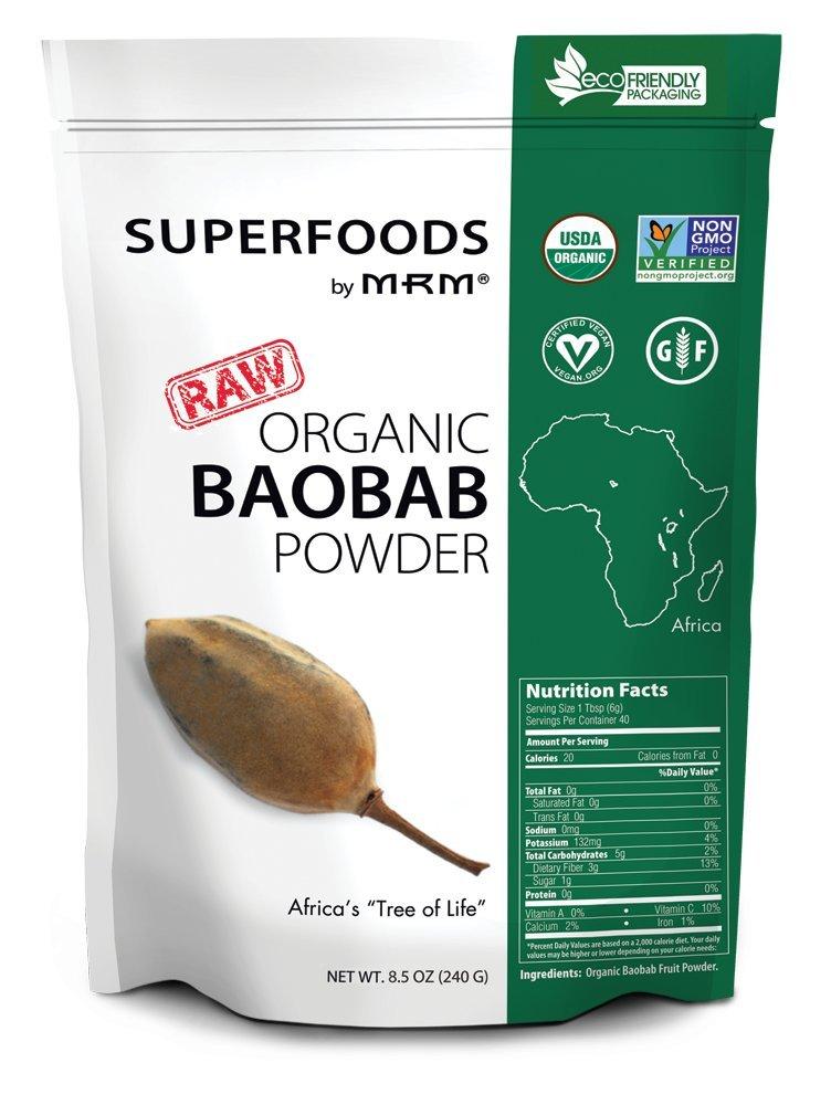 MRM - Raw Organic Baobab Fruit Powder, Non-GMO Project Verified, Vegan & Gluten-Free (8.5 Ounce)
