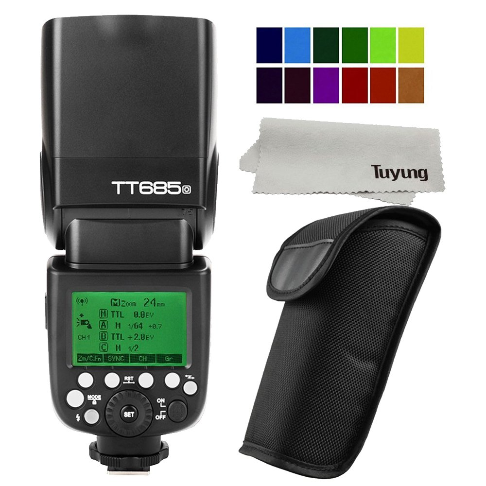 Godox TT685O GN60 1/8000S HSS 0.1-2.s Recycle Time 230 Full Power Flashes 22 Steps of Power Output 2.4G TTL Camera Flash Speedlite for Olympus Panasonic Cameras