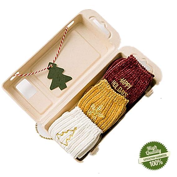 Morbuy Mujer Algodón Calcetines de Navidad, Bordado Set de Calcetín de 3 pares Caja De