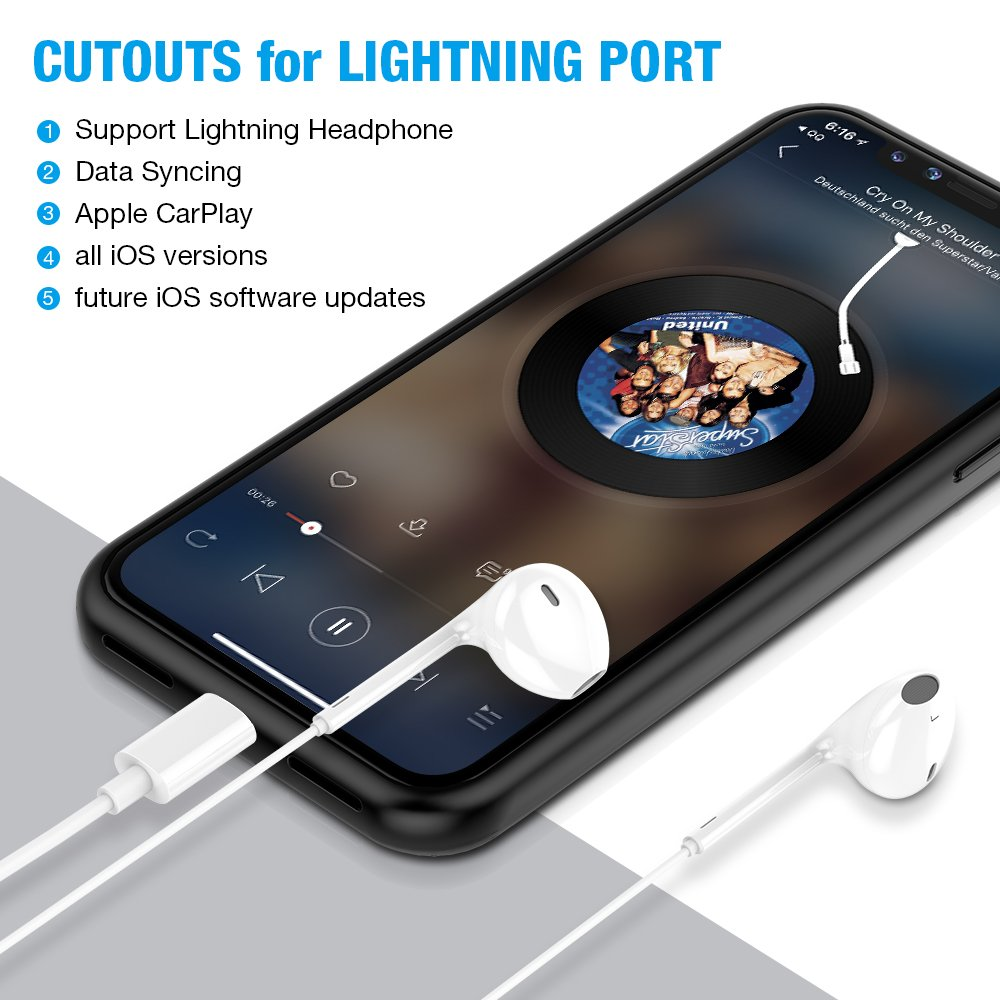 Amazon IPhone X Battery Case With Qi Wireless ChargingSupport Lightning Headphone And Data SyncingALCLAP 3000mAh Charging