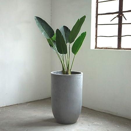 ZHKY Jardineras redondeadas de jardín al aire libre muy grandes Macetas de arcilla con textura creativa de fibra Maceta de sala de plantación Planta de maceta verde for patio Balcón Corredor Jardinera: