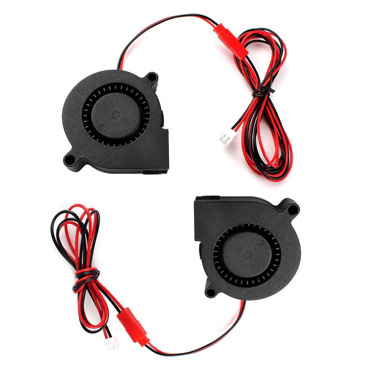 BCZAMD 3D-Druckerl/üfter K/ühlung 12V 50x50x15mm Blow Radial Hotend K/ühler Gleitlager mit 2 Verl/ängerungskabeln f/ür PMega Lulzbot Taz Anet A8 Extruder Zubeh/ör 2St