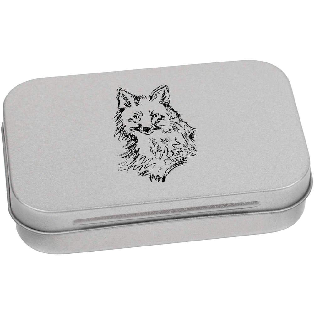 Azeeda 95mm 'Sketched Fox Face' Metal Hinged Tin / Storage Box (TT00032081)