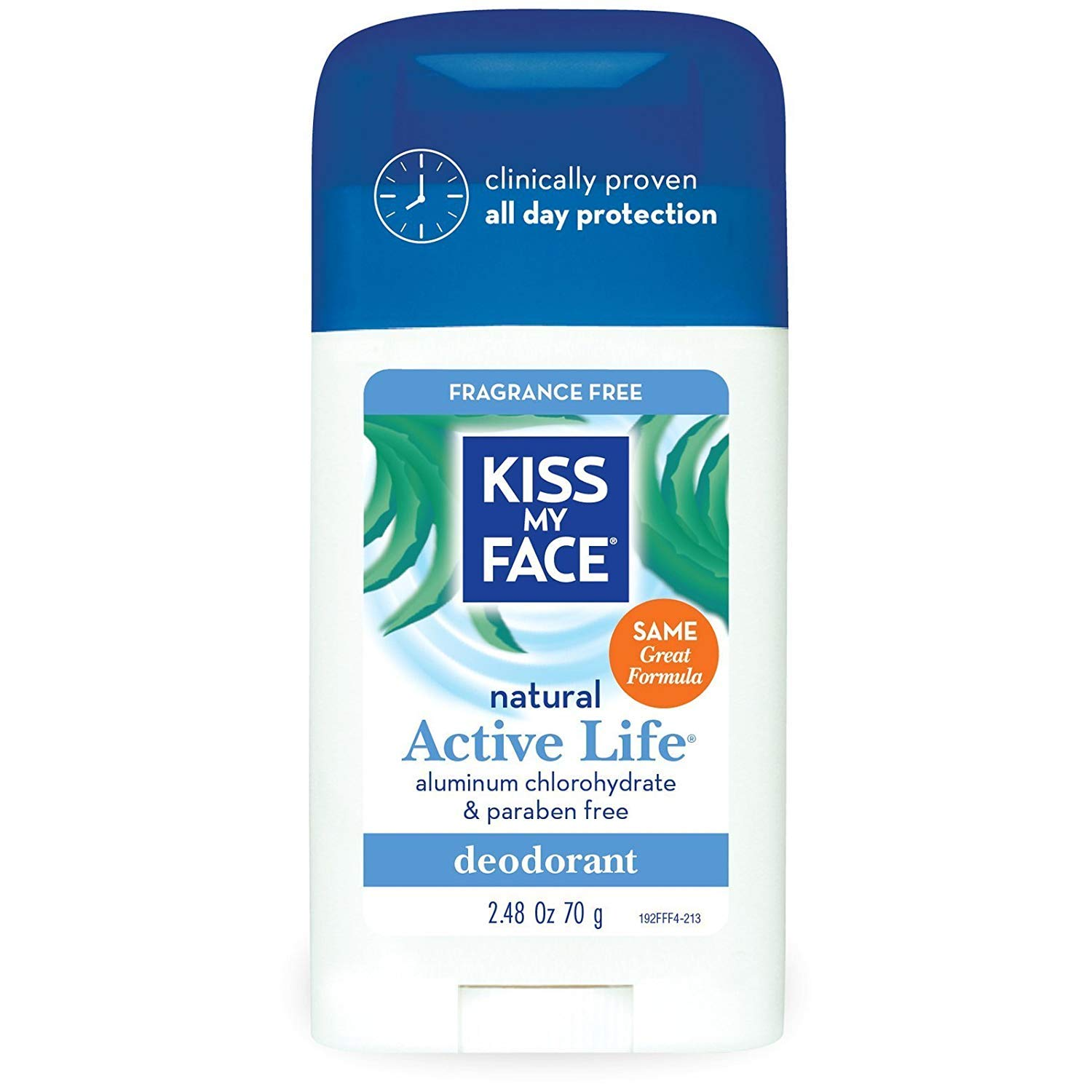 Kiss My Face Deodorant Stick Active Life Fragrance Free 2.48 Ounce (73ml) (2 Pack)