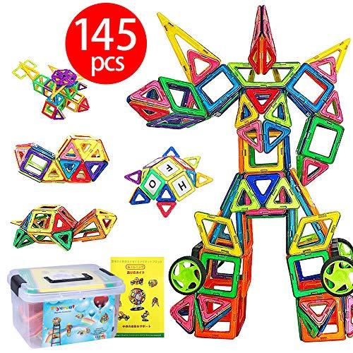 자석 블록 마그넷 자석 3d 입체 퍼즐 145 피스 (자석 블록 99 개 다른 바퀴 패널 부품 46 개) FlyCreat 수납 케이스